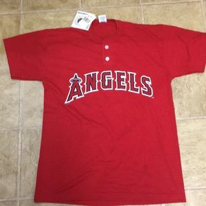 Russell athletic XL cot button Angels baseball top
